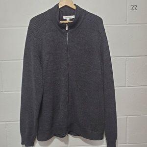 Calvin Klein Black Full Zip Knit Sweater Size XL